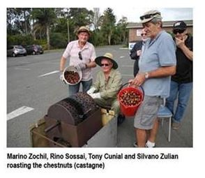 Marino Zochil, Rino Sossai, Tony Cunial and Silvano Zulian roasting the chestnuts (castagne)